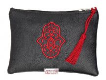 "Moroccan Pouch Purse with Hamsa Design Handmade Black Small 15 cm x 10 cm / 6"" x 4"""